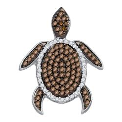 0.35 CTW Cognac-brown Color Diamond Sea Turtle Tortoise Pendant 10KT Yellow Gold - REF-19X4Y