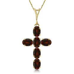 Genuine 1.50 ctw Garnet Necklace Jewelry 14KT Yellow Gold - REF-32T8A