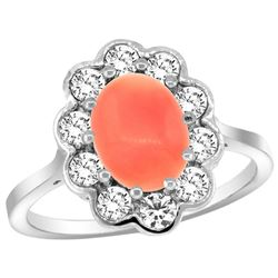 Natural 2.58 ctw Coral & Diamond Engagement Ring 14K White Gold - REF-80X2A