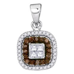 0.35 CTW Cognac-brown Color Diamond Square Pendant 10KT White Gold - REF-22K4W