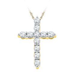 0.33 CTW Diamond Cross Pendant 10KT Yellow Gold - REF-26X9Y