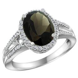 Natural 2.72 ctw smoky-topaz & Diamond Engagement Ring 14K White Gold - REF-54A4V