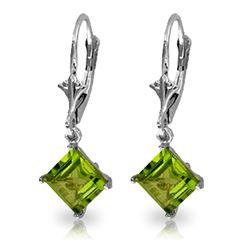 Genuine 3.2 ctw Peridot Earrings Jewelry 14KT White Gold - REF-30Z2N