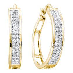 0.20 CTW Diamond Hoop Earrings 10KT Yellow Gold - REF-18M7H