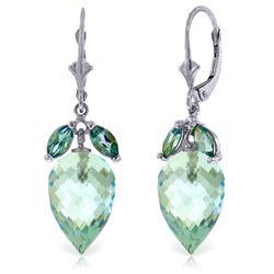 Genuine 23.5 ctw Blue Topaz Earrings Jewelry 14KT White Gold - REF-67M9T