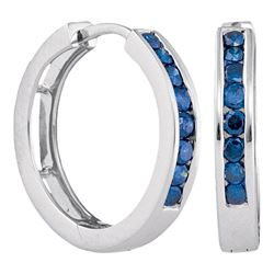 0.50 CTWBlue Color Channel-Set Diamond Hoop Earrings 14k White Gold - REF-41K9W