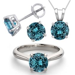 14K White Gold Jewelry SET 4.0CTW Blue Diamond Ring, Earrings, Necklace - REF#6798X7F-WJ13347