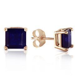 Genuine 2.9 ctw Sapphire Earrings Jewelry 14KT Yellow Gold - REF-36V3W