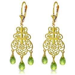 Genuine 3.75 ctw Peridot Earrings Jewelry 14KT Yellow Gold - REF-58X3M