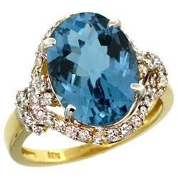 Natural 5.89 ctw london-blue-topaz & Diamond Engagement Ring 14K Yellow Gold - REF-90K7R
