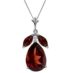 Genuine 6.5 ctw Garnet Necklace Jewelry 14KT White Gold - REF-42X6M
