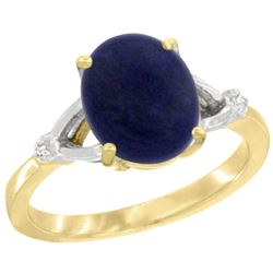 Natural 2.51 ctw Lapis & Diamond Engagement Ring 10K Yellow Gold - REF-22G5M