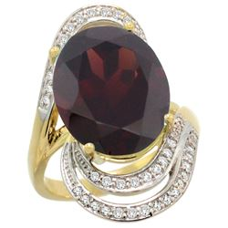 Natural 11.2 ctw garnet & Diamond Engagement Ring 14K Yellow Gold - REF-110Y2X