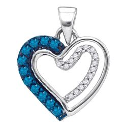 0.20 CTW Blue Color Diamond Double Nested Heart Pendant 10KT White Gold - REF-11M2H