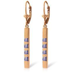 Genuine 0.70 ctw Tanzanite Earrings Jewelry 14KT Rose Gold - REF-59K5V