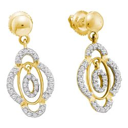 0.40 CTW Diamond Dangle Screwback Earrings 14KT Yellow Gold - REF-44H9M
