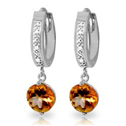 Genuine 2.53 ctw Citrine & Diamond Earrings Jewelry 14KT White Gold - REF-54M6T