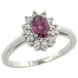 Natural 0.67 ctw Rhodolite & Diamond Engagement Ring 10K White Gold - REF-39N2G