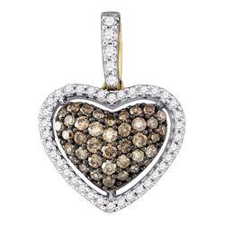 0.45 CTW Cognac-brown Color Diamond Heart Love Pendant 10KT Yellow Gold - REF-26W9K