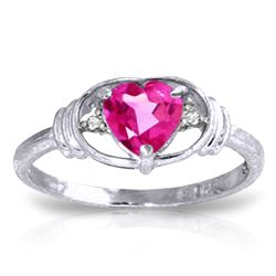 Genuine 0.96 ctw Pink Topaz & Diamond Ring Jewelry 14KT White Gold - REF-40X5M