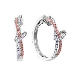 0.25 CTW Diamond Rope Hoop Earrings 10KT Two-tone Gold - REF-37W5K