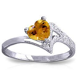 Genuine 0.95 ctw Citrine Ring Jewelry 14KT White Gold - REF-36W3Y