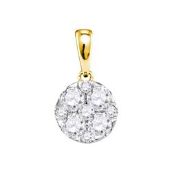 1.01 CTW Pave-set Diamond Circle Cluster Pendant 14KT Yellow Gold - REF-119Y9X
