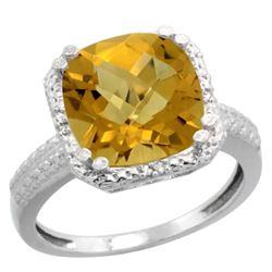 Natural 5.96 ctw Whisky-quartz & Diamond Engagement Ring 14K White Gold - REF-40R5Z