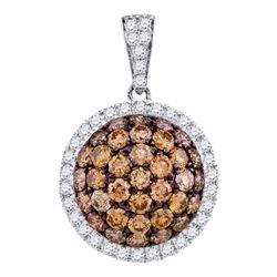 1.54 CTW Cognac-brown Color Diamond Circle Cluster Pendant 10KT White Gold - REF-67F4N