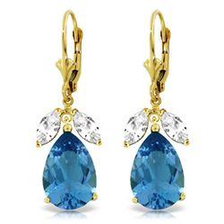 Genuine 13 ctw Blue Topaz & White Topaz Earrings Jewelry 14KT Yellow Gold - REF-61P2H