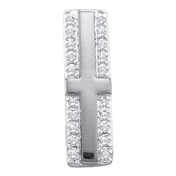 0.07 CTW Diamond Cross Pendant 10KT White Gold - REF-6X2Y