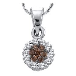 0.50 CTWCognac-brown Color Diamond Flower Circle Pendant 14k White Gold - REF-32F9N