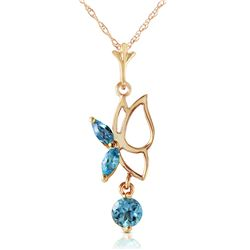 Genuine 0.40 ctw Blue Topaz Necklace Jewelry 14KT Yellow Gold - REF-22X2M