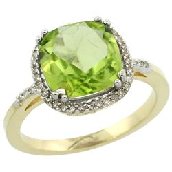 Natural 4.11 ctw Peridot & Diamond Engagement Ring 14K Yellow Gold - REF-48W2K