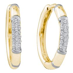 0.15 CTW Diamond Cluster Hoop Earrings 14KT Yellow Gold - REF-19X4Y
