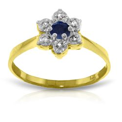 Genuine 0.19 ctw Sapphire & Diamond Ring Jewelry 14KT Yellow Gold - REF-30Z6N