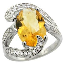 Natural 6.22 ctw citrine & Diamond Engagement Ring 14K White Gold - REF-134W9K