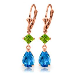 Genuine 4.5 ctw Blue Topaz & Peridot Earrings Jewelry 14KT Rose Gold - REF-41X4M