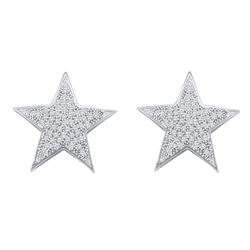 0.25 CTW Diamond Star Cluster Stud Earrings 10KT White Gold - REF-24K2W