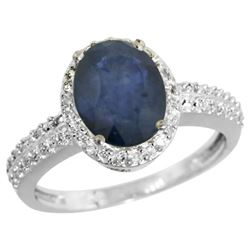 Natural 2.31 ctw Blue-sapphire & Diamond Engagement Ring 10K White Gold - REF-45K5R