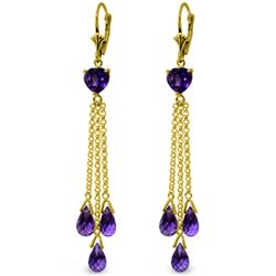 Genuine 9.5 ctw Amethyst Earrings Jewelry 14KT Yellow Gold - REF-62T2A