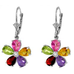 Genuine 4.43 ctw Pink Topaz, Citrine & Amethyst & Diamond Earrings Jewelry 14KT White Gold - REF-50R