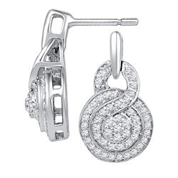 0.50 CTWDiamond Circle Cluster Earrings 10KT White Gold - REF-40W4K