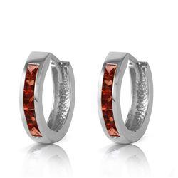 Genuine 1.30 ctw Garnet Earrings Jewelry 14KT White Gold - REF-37M7T