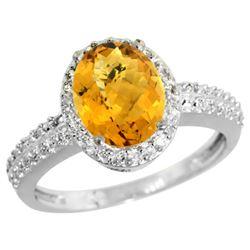 Natural 1.91 ctw Whisky-quartz & Diamond Engagement Ring 14K White Gold - REF-40N5G