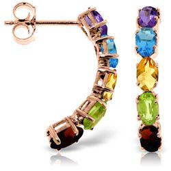 Genuine 2.5 ctw Multi-gemstone Earrings Jewelry 14KT Rose Gold - REF-37Y4F