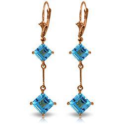 Genuine 3.75 ctw Blue Topaz Earrings Jewelry 14KT Rose Gold - REF-30F6Z