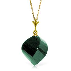 Genuine 15.25 ctw Green Sapphire Corundum Necklace Jewelry 14KT Yellow Gold - REF-26T7A