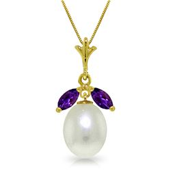 Genuine 4.5 ctw Pearl & Amethyst Necklace Jewelry 14KT Yellow Gold - REF-24P3H