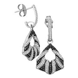 0.50 CTWBlack Color Diamond Dangle Earrings 10KT White Gold - REF-53X9Y